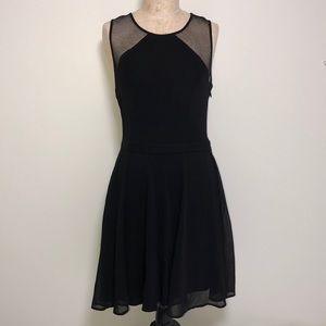 BEBE • Black Fishnet Fit and Flare Dress